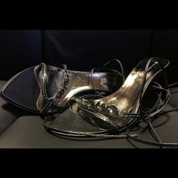 Sandra Shine's Black Stoned Tie-up Sandals
